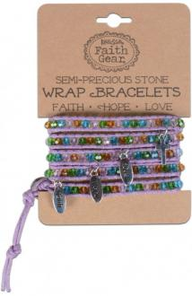 WRBJ 103 Wrap Armbånd - Faith Hope Love - Pacific Pastels